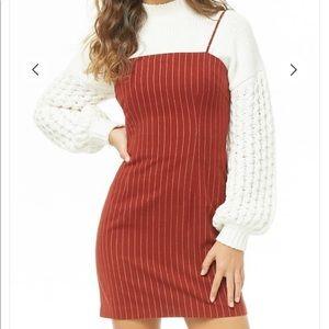 F21 Burgundy Pinstriped Mini Dress